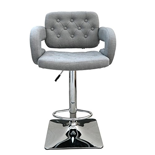 Bar Stool / Barstool Swivel Olivia Fabric Adjustable Swivel with Back in Contemporary, Transitional Style - 22 in Wide x 21 in Deep with a 24- to 33-in Seat Height. Assembly Required