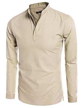 Coofandy Mens Casual Long Sleeve Basic Henley Shirt, Small, Beige