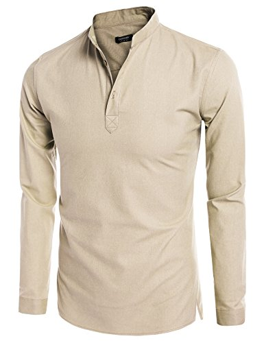 Han Solo Costume Shirt (Coofandy Mens Casual Long Sleeve Basic Henley Shirt, Small,)
