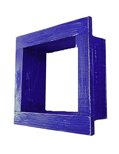 Square Wood / Wooden Shadow Box Display - 9'' x 9'' - Royal Blue - Decorative Reclaimed Distressed Vintage Appeal by IGC