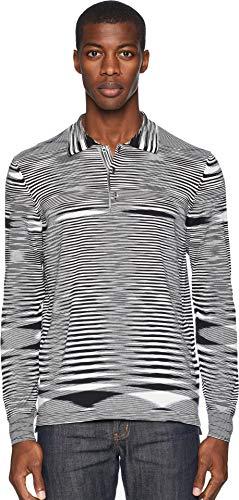 (Missoni Men's Boston Fiammato Long Sleeve Polo Sweater Black/White 50)