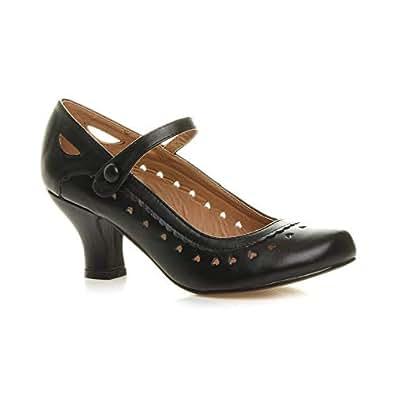 Ajvani Women's Low Kitten Heel Work Classic Court Shoes Size 5 36 Black Matte