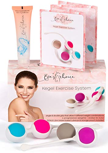 Kegel Balls for Beginners and Advanced - Kegel Weights - Doctor Recommended for Bladder Control & Pelvic Floor Recovery Exercises - Premium Silicone Ben Wa Keigal Ball Weighted Kit for Women by Eve's]()
