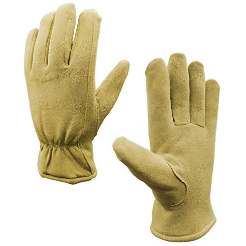 SKYDEER Winter Gloves with Warm Full Deerskin Leather Suede (Unisex SD8672T/M) ()