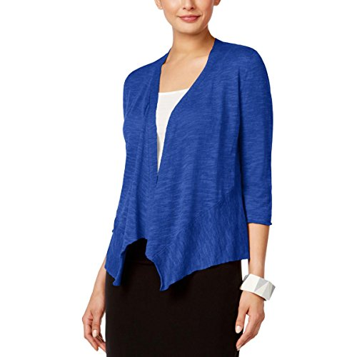 (Alfani Womens Petites Linen Open Front Cardigan Sweater Blue PS)