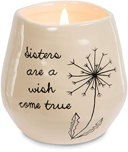 Pavilion Gift Company Plain Dandelion Sisters are a Wish Come True Yellow Ceramic Soy Serenity Scented -