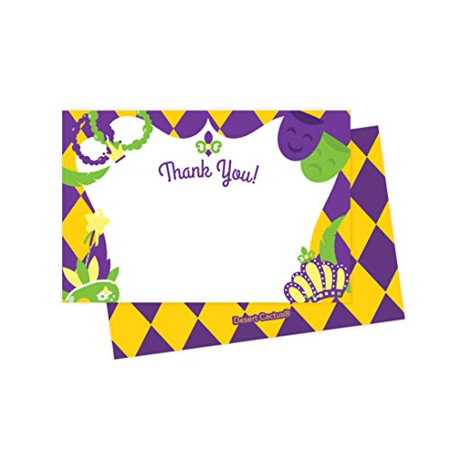 Mardi Gras Thank You Cards (25 Count) With Envelopes & Seal Stickers Bulk Birthday Party Bridal Blank Graduation Kids Children Boy Girl Baby Shower