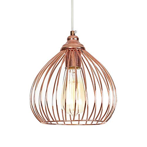 Bright vestibule Chandelier Handmade Wrought Iron Rose Gold Ceiling Lamp European Retro Industrial Wind Grid Lampshade Bar Restaurant Personality Chandelier (Multi-Style) (Color : F) ()