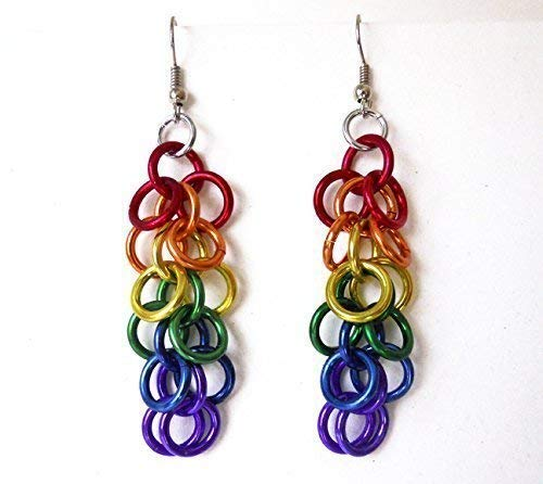 Gay Pride earrings - Rainbow chainmaille jewelry