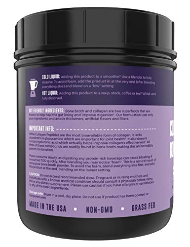 Collagen Bone Broth Powder | Bone Broth with Collagen Peptides - Unflavoured - Hydrolyzed Beef, Grass Fed, Zero Carb, Dairy Free Protein Powder - 1lb, 32 Servings
