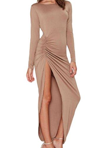 Les Femmes Coolred Split Dos Nu Manches Longues Robe Légère De Soirée Mince Plissée Beige