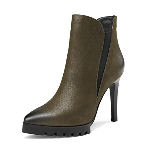 caviglia donne con 38 Wdjjjnnnv retro in pelle Martin GREEN 39 sottili alti stivali basso cerniera scarpe GREEN caldo a corti tacchi 5qpwvZpRA
