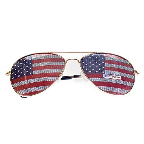 anteojos de sol con diseño de la bandera de Estados Unidos de Mj, caja de regalo, 3 unidades dorado, M