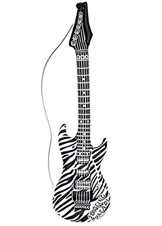 Guitarra inflable con estampado de cebra Rock Star de los 80: Amazon ...