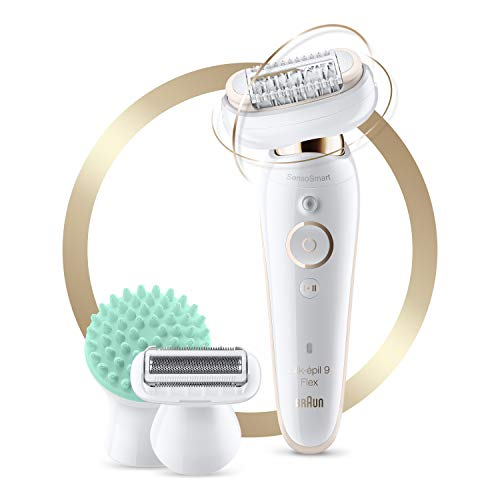 Braun Epilator for Women with Flexible Head, Silk-épil 9 9-020 for Hair Removal, Wet & Dry, Womens Shaver & Trimmer, Cordless, Rechargeable, Beauty Kit with Body Massage Pad, White/Gold
