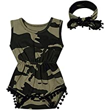 Newborn Baby Girls' Camouflage Pompon Trim Sleeveless Romper Bodysuit and Cute Headband