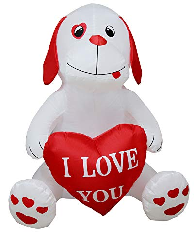 SEASONBLOW 4 Ft Inflatable Valentine's Day Puppy Dog Lover I L LOV You Birthday Wedding Anniversary Party Light Decoration with Sweet Heart (Inflatable Happy Easter)
