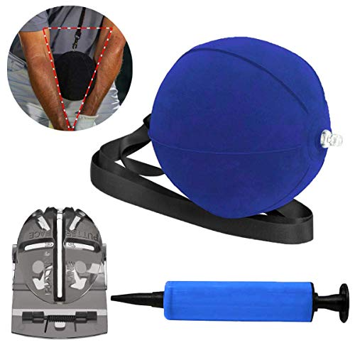GVFM Golf Smart Ball, Swing Training Aids, Portable Impact Ball Ultra-Light, Inflatable Posture Correction Tool- Inflator Included and Golf Ball Line Liner Ball Marking Tool (Blue)]()