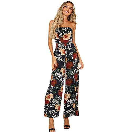 (Women Floral Printing Off Shoulder Sleeveless Rompers Jumpsuit Playsuit BK/XL&ANJUNIE(Black,XL))