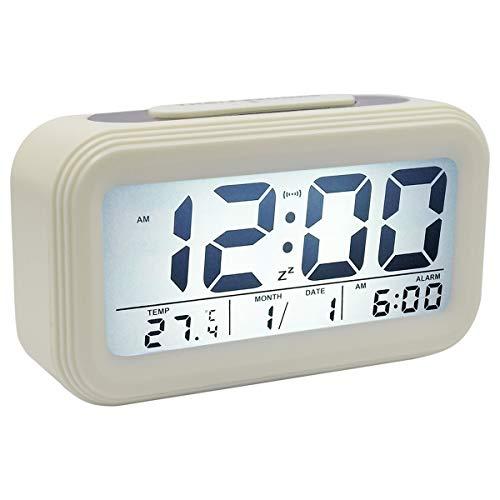 COOJA Reloj Despertador Digital Pilas, Alarma Despertador con Luz Snooze Numeros Grandes Temperatura, Despertadores