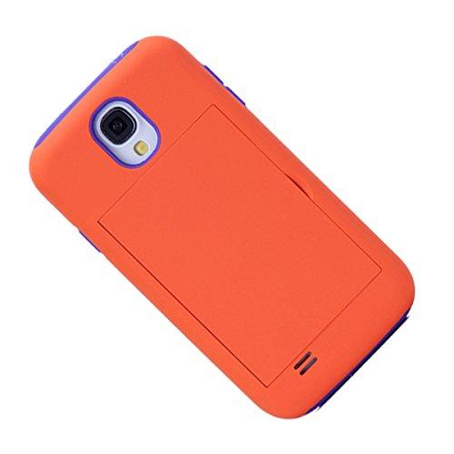 Caja de telefono - SODIAL(R)Caja protectora de telefono dura contra choques con carpeta de tarjeta de credito para Samsung Galaxy S4 naranja y violado