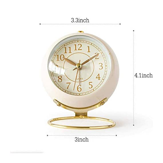 JUSTUP Small Table Clocks, Classic Non-Ticking Tabletop Alarm Clock Battery Operated Desk Clock with Backlight HD Glass for Bedroom Living Room Kitchen Indoor Decor (White) - UNIQUE STYLING DESIGN: Size:4.1*3.3*3 inch. Metallic iron look, well made, gold Arabic numbers, an awesome clear and simple style With metal base, looks conspicuous in your nightstand. SILENT: Non-ticking, quiet and smooth sweeping quartz movement and second hand, ensure a good sleep and best working environment. EASY TO USE: Easy to set the alarm and time on back of the clock. Number dial which is easy to read and button for backlight, simply press the button when staying in bed, time will be clearly visible at night. - clocks, bedroom-decor, bedroom - 41Sf RsIRyL. SS570  -