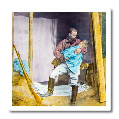 3dRose Scenes from the Past Magic Lantern Slides - Californian Nugget No. 9 Gold Miner with Child Vintage Circa 1890 - 10x10 Iron on Heat Transfer for White Material (ht_269910_3) (Gold Nugget T-shirt)