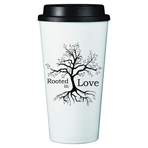 Travel Coffee Mug Tumbler with Lid | 16 oz Double Wall Insulated Thermal Cup | Inspirational Saying | Novelty Drinkware (White - Rooted In Love)