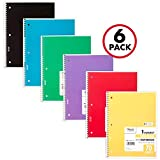 Mead Spiral Notebooks, 1 Subject, Wide Ruled Paper, 70 Sheets, 10-1/2 x 7-1/2 inches, Assorted Colors, 6 Pack (73063)
