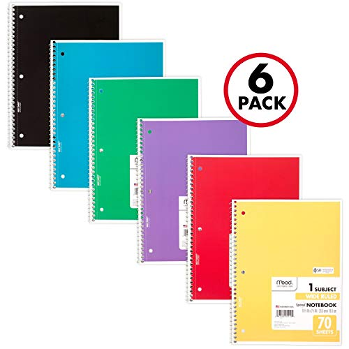 Mead Spiral Notebooks, 1 Subject, Wide Ruled Paper, 70 Sheets, 10-1/2 x 7-1/2 inches, Assorted Colors, 6 Pack (73063) (Best Spiral Bound Notebook)