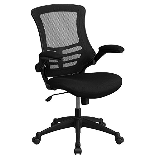Swivel Back Mid Contemporary (Flash Furniture Mid-Back Black Mesh Swivel Task Chair Flip-Up Arms)