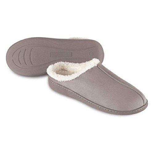 sharper-image-mens-womens-unisex-memory-foam-soft-fur-comfortable-house-slippers-medium-gray