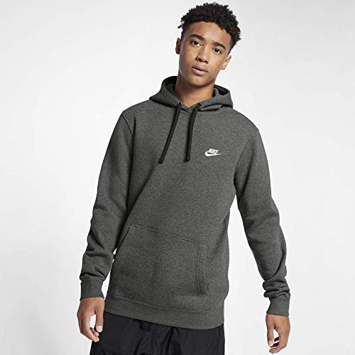 Men's Nike Sportswear Club Pullover Hoodie, Fleece Sweatshirt for Men with Paneled Hood, Charcoal Heather/Charcoal Heather/White, M