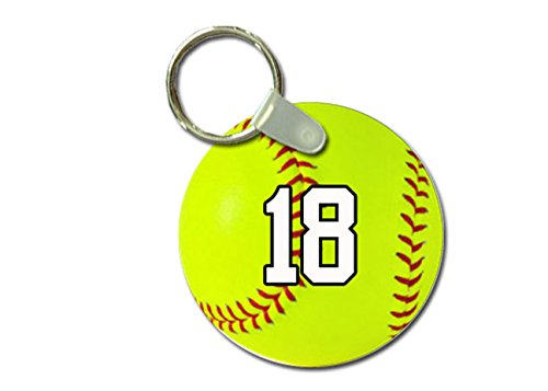 TYD Designs Key Chain Sports Softball Customizable 2 Inch Metal and Fully Assembled Ring with Any Team Jersey Player Number 18 ()