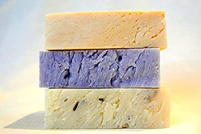 All Natural Handmade Soap Gift Set - Lavender, Lavender w/ Flowers, Lavender Lemongrass Castile - with All Natural/Organic Ingredients