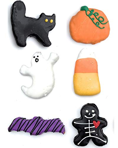 Halloween Dog Treats Black Cat Candy Corn Pumpkin Skeleton Bat Ghost (6 Piece in Gift Bag)