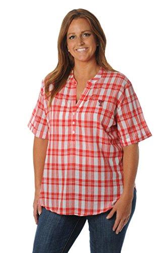 UG Apparel NCAA Texas Tech Red Raiders Women's Plus Size Short Sleeve Plaid Top, 1X, Red