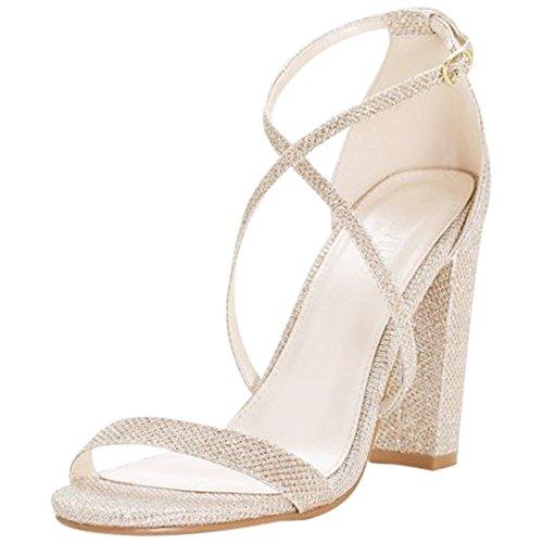(David's Bridal Crisscross Strap Block Heel Sandals Style Frenzy, Gold,)