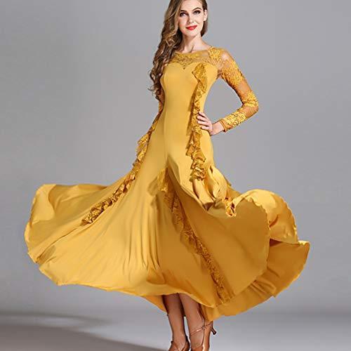 Per Prestazioni Yellow concorso In Dancewear Practice Wqwlf Gonna Manica Sala Da M Pizzo Modern Lunga Valzer xl Balli Donna Cuciture nUWxxFzwSt