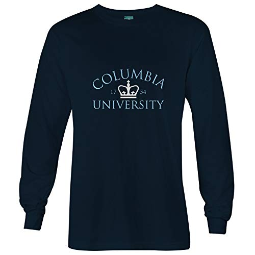Ivysport Columbia University Cotton Long Sleeve T-Shirt by Crown Logo, Navy, Long Sleeve T-Shirt ()