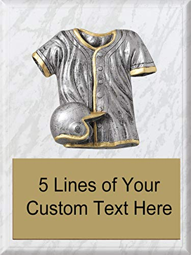 Express Medals 8 x 10 White Marble Finish Wood Plaque with Heavy Resin Baseball Detail Award Trophy with Custom Engraved Personalized Text