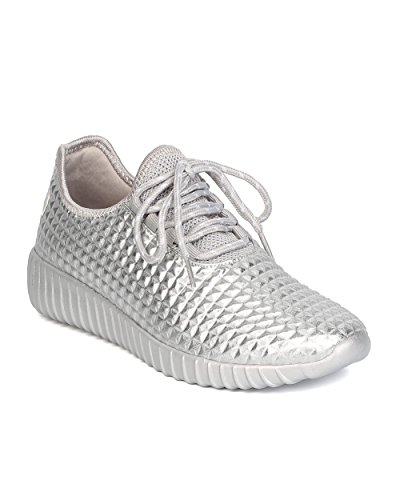 (Cape Robbin Women Metallic Leatherette Quilted Lace Up Jogging Sneaker GB66 - Silver (Size: 6.0))