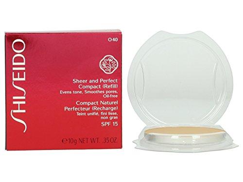 Shiseido Sheer and Perfect Refill Compact SPF 21 for Women, No. O40 Natural Fair Ochre, 0.35 oz (Refill) (Shiseido Sheer Foundation)