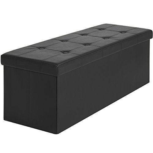 Best Choice Products Faux Leather Folding Storage Ottoman Large Black Bench Foot Rest Stool Seat