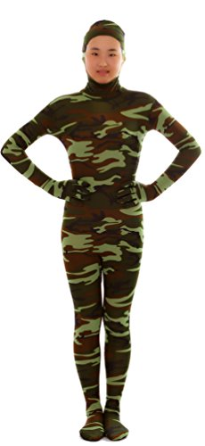 Seeksmile Unisex Face Open Second Skin Lycra Spandex Zentai Full Body Suit (Kids Small, Camo Green) - Skin Suit Camo Child Costumes
