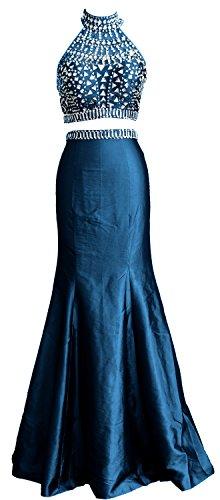 MACloth Women Mermaid Two Piece High Neck Taffeta Long Prom Dress Formal Gown Teal