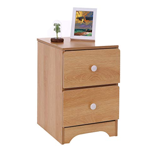 (NszzJixo9 Assemble Storage Cabinet Bedroom - Bedside Locker Double Drawer Bedside Table, Cabinet for Storage, Side Table for Small Spaces, Wood Look Accent Furniture (B))