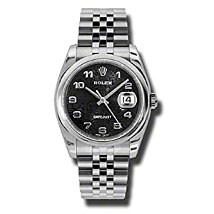 Rolex Oyster Perpetual Datejust 36mm Stainless Steel Case, Domed Bezel, Black Jubilee Dial, Arabic Numerals and Jubilee Bracelet