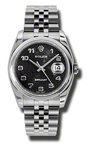 (Rolex Oyster Perpetual Datejust 36mm Stainless Steel Case, Domed Bezel, Black Jubilee Dial, Arabic Numerals and Jubilee Bracelet)
