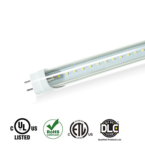EVE 4Pack T8 LED Light Tube 4ft 15w (32W equivalent),1950 Lumens 5000K bright White, Dual-End Powered, Clear Cover,Fluorescent Light Bulbs Replacement,with or without ballast - internal driver - Internal Ballast